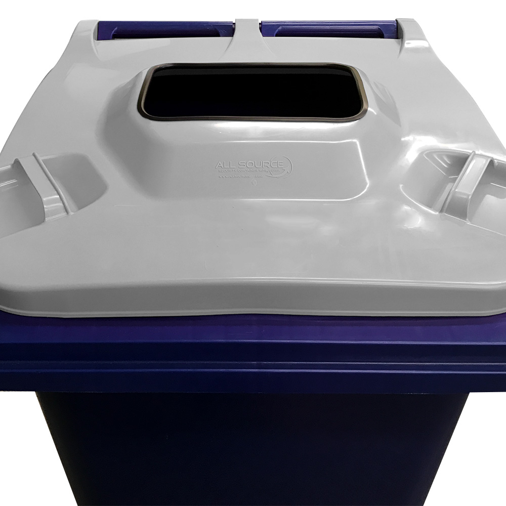 Front view of rectangular Cart Lid Insert on a blue Defender Series Secure Collection Container. - All Source Products